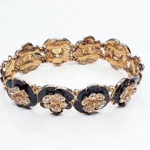 5/$25 Gold Tone Enamel Flower Rhinestone Stretch